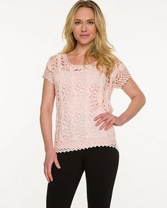This boho-chic crochet knit sweater comes with a ready-to-wear built-in tank.