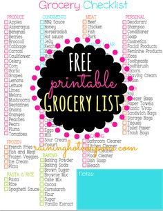 FREE Printable Grocery Shopping Checklist (Click Image)