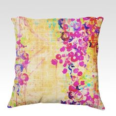 WALL FLOWERS  Fine Art Velveteen Throw Pillow Cover, Decorative Home Decor Colorful Fine Art Toss Cushion, Modern Bedroom Bedding Dorm Room Living Room Style Accessories  by EbiEmporium, $75.00