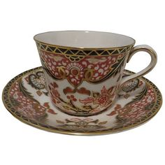 Pre-Owned Crown Derby Cup & Saucer ($125) ❤ liked on Polyvore featuring home, kitchen & dining, drinkware, multi, bone china coffee cups, coffee cups, coffee cup and saucer and bone china