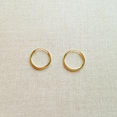 12mm massivem 14 k Gold Hoop Ohrringe 14 von SforSparkleShop