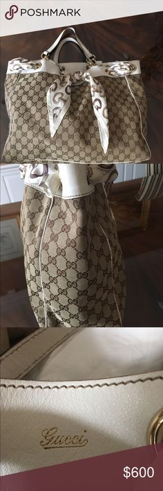 Gucci Tote Gucci logo print, beige & brown w Gucci horsebit scarf running thru top of white leather & grommets, good condition Gucci Bags Totes