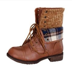 """""""Plaid For President"""" Combat Boot Vegan leather tan combat boot. The cheeky plaid foldover adds the perfect girly finishing touch. Comfortable and stylish, a definite must have for your closet. Brand new in box. Runs half a size large. Bare Anthology Shoes"""