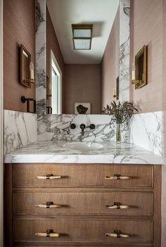 Marie Flanigan Interiors - Powder Bath - Driftwood Wallpaper - Cararra Gold Honed Marble - Horn Drawer Pulls