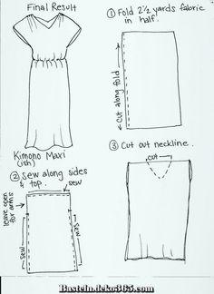 EASY DIY Kimono-ish Maxi Dress Easy simple dress idea with one piece of fabric. I would fold at shou Kimono Diy, Kimono Style Dress, Kimono Fashion, Diy Fashion, Club Fashion, 1950s Fashion, Japan Fashion, Fashion Clothes, Street Fashion