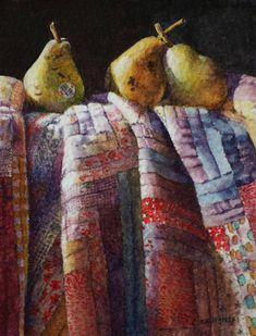 "Chris Krupinski, ""Sunlit Pears"" measures 4"" x 3"" on 300# rough paper"