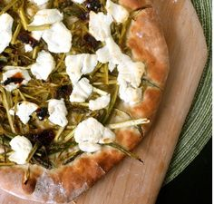 Shaved asparagus pizza with goat cheese.