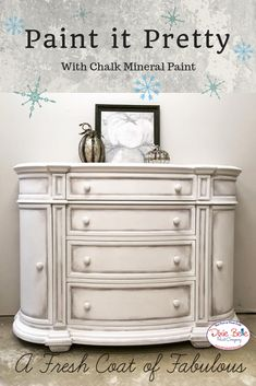 Frosty and white, this piece painted in Fluff Chalk Mineral Paint is just the thing for entertaining in winter.  Shop this beautiful color from Dixie Belle now! #dixiebellepaint #bestpaintonplanetearth #chalklife #homedecor #doityourself #diy #chalkmineralpaint #chalkpainted #easypeasypaint #makingoldnew #whybuynew #justpainting #paintedfurniture #white #winter