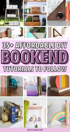 Want to build your own DIY bookends but don't know where to start!? Check out these awesome tutorials and ideas for inspiration! Whether you're looking for something modern, made out of concrete, or just plain and simple, you'll find it here! Wooden Bookends, Diy Projects To Try, Craft Projects, Mason Jar Projects, Concrete Crafts, Diy Plant Stand, Dollar Tree Crafts, Crafts For Kids To Make