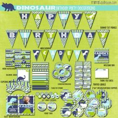 DINOSAUR PARTY PRINTABLE COLLECTION-BLUE http://mimisdollhouse.com/product/dinosaur-party-printable-collection-blue/