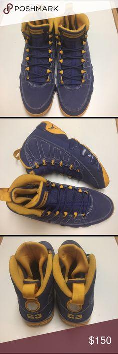 Retro Jordan 9 Authentic yellow and blue Retro Jordan 9 used in great condition. No box. No trades. Jordan Shoes Sneakers