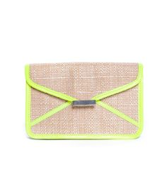 straw weave clutch with neon yellow leather trim