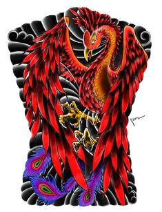 dg.haseon - phoenix tattoo design Dragon Tattoos For Men, Tattoos For Guys, Cool Back Tattoos, Vogel Tattoo, Phoenix Tattoo Design, Phoenix Bird, Irezumi Tattoos, Geisha, Asian Art