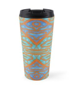 """""""Orange and blue abstract pattern in eastern style"""" Travel Mugs by clipsocallipso 