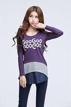 TSE955 Plus Size Wording Long Sleeve Tee - Purple