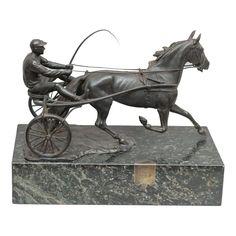 Austrian Bronze Group, Harness Race Driver and Horse, Artist Signed, circa 1920 Horse Sculpture, Animal Sculptures, Crushed Velvet Ottoman, Harness Racing, Vintage Antiques, Scene, Bronze, Horses, Statue