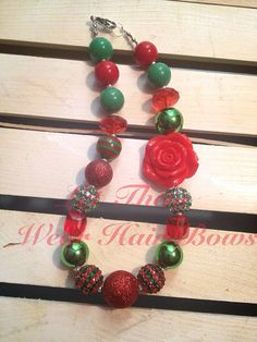 Red and Green Christmas Chunky Bead Necklace with Resin Rose for Little Girls, Toddler, Kids Jewelry, Trendy Gift, Bubblegum,  Gumball Bead on Etsy, $13.49