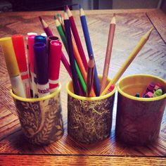Repurposed play dough containers wrapped with pretty paper