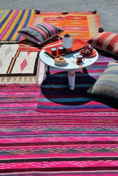 Outdoor dining enhanced by bright colors and playful prints