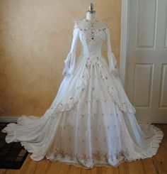 Victorian Dresses  | Elegant White Off Shoulder Victorian Wedding Dress