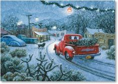 Car, tractor and train Christmas cards from Leanin' Tree feature nostalgic images and the joys of yesteryear. Christmas Red Truck, Merry Christmas Card, Christmas Scenes, Vintage Christmas Cards, Christmas Art, Christmas Clipart, Christmas Ornaments, Personalised Christmas Cards, Holiday Greeting Cards