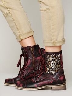 I seriously NEED this burgundy distressed, COOL studded KADENCE MILITARY BOOT<3<3.........by feud....at Free People!!!!