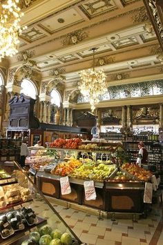 Елисеевский (Eliseevsky), Tverskaya street 14, Moscow.  The neo-baroque grocery store that opened in 1901 and so far made it through history.