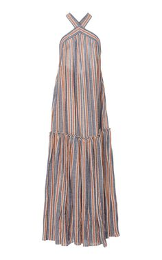 Shop Dollie Striped Maxi Dress. This **Three Graces London** Dollie Striped Maxi Dress features a halter neckline with a exposed back and loose silhouette.