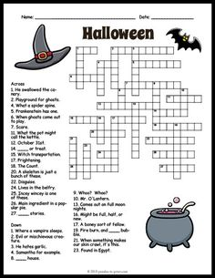Free Halloween Crossword Halloween crossword, a spooky but nice free printable. Can you figure out the 31 clues? Solution provided, just in case. Halloween Crossword Puzzles, Halloween Puzzles, Halloween Word Search, Halloween Worksheets, Halloween Words, Halloween Activities For Kids, Halloween Crafts For Kids, Holiday Activities, Holidays Halloween