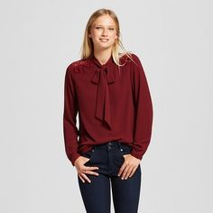 Women's Long Sleeve Tie-Neck Blouse - Mossimo™ : Target