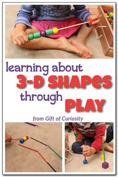 """Learning about 3-D shapes through play: Check out these creative, open-ended, and playful ideas for engaging kids in an exploration of 3-dimensional shapes. Kids will love the """"bowling"""" and """"race track"""" activities, among others! #handsonlearning #spielgaben 