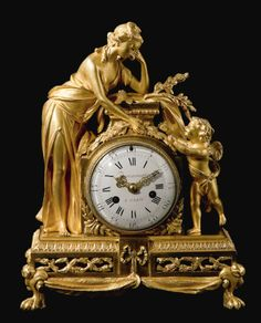 'The curtains over the windows were still closed, making it difficult to read the time on the ormolu clock* on the mantelpiece.' This pic - A Louis XVI ormolu mantel clock circa the dial signed Barancourt a Paris Unusual Clocks, Cool Clocks, Clock Art, Clock Decor, Louis Xvi, French Clock, Wall Clock Online, Mantel Clocks, Retro Clock