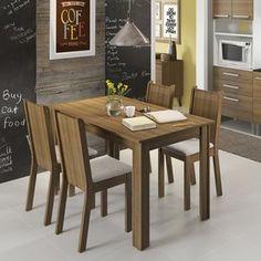 Conjunto para Sala de Jantar Mesa com 4 Cadeiras Rosie Madesa Rustic/Pérola