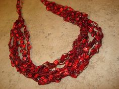 Red Crocheted Ribbon Yarn Necklace