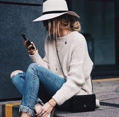 Ripped ankle jeans, chunky knit, fedora and loafers   winter fashion   winter style   winter outfit   streetstyle