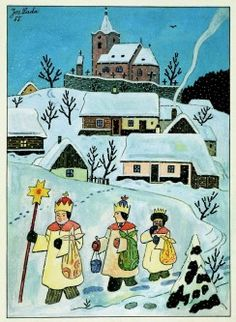 Josef Lada, Christmas card 10 x Czech Republic The Good Soldier Svejk, Advent, Three Wise Men, Comic Styles, Silent Night, Pattern Illustration, Illustrators, Folk Art, Christmas Cards