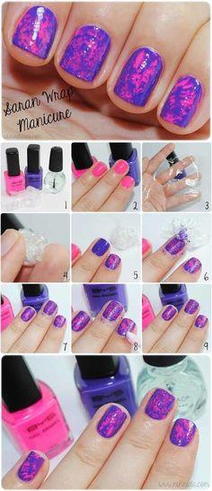 Saran Wrap Mani   Easy and Cute Nail Art For Beginners by Makeup Tutorials http://makeuptutorials.com/easy-nail-art-designs-ideas/