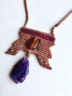 African Style Macrame necklace, Beautiful gift idea, tribal necklace, boho jewellry, bohemian necklace, amethyst necklace, amethyst jewelry