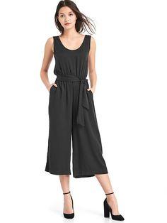 Drapey tie-belt culotte jumpsuit
