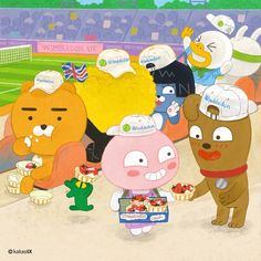 Kakao Ryan, Apeach Kakao, Friends Gif, Kakao Friends, Wall Drawing, Strawberries And Cream, Cute Designs, Your Favorite, Character Design