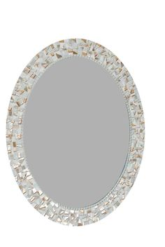 This white oval mosaic mirror was created using several shades of white mosaic tiles in different finishes. Some of the tiles are matte, some