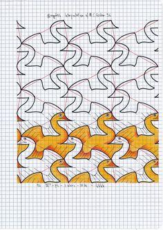 My interpretation of MC Escher symmetry nr 96 #tessellation #symmetry #geometry #pattern #handmade #mathart #regolo54 #escher