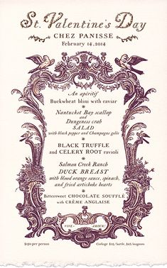 Chez Panisse Valentine's Day menu hand lettered by Cynthia Warren