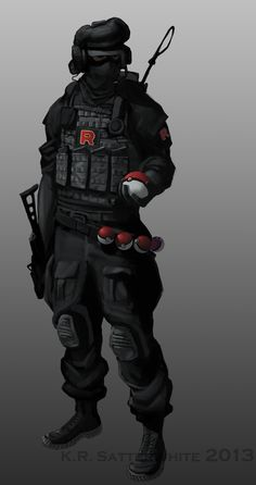 My take on the regular Team Rocket thug. I never got the 'threatening terrorist' vibe from them even thought that's what they were supposed to be. I always pictured them as more of a paramilitary group that pulled off bigger jobs than stealing a Pikachu, like bombing Pokemon centers or robbing highly guarded facilities full of rare or man-made pokemon (like where mewtwo was created). They certainly don't seem to be short of funding that would enable them to do so.