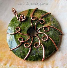 Wire Wrapped Unakite Donut pendant/focal component by Zoraida