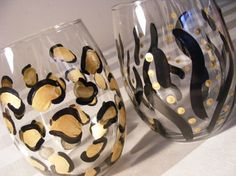 Cute way to make your wine glasses WILD! Paint them with your favorite animal prints!