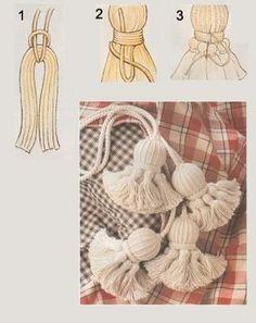 badulake de ana: BORLAS - how to make tassles Yarn Crafts, Diy And Crafts, Arts And Crafts, Diy Tassel, Macrame Tutorial, Macrame Knots, Handicraft, Hand Embroidery, Sewing Projects