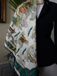 RARE Vintage Original Hermes Scarf, Jacquard Silk, La Comédie Italienne by Ledoux
