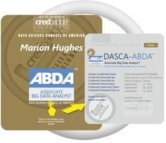 Digitally badged by CredBadge, ABDA credential from DASCA expedites the exciting Big Data career posterns in Big Data analytics for university or business–school students globally.https://www.dasca.org/data-science-certifications/associate-big-data-analyst