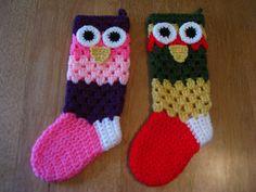 Crochet Owl Christmas Stocking Girl's and by TrudysKnotsofLove
